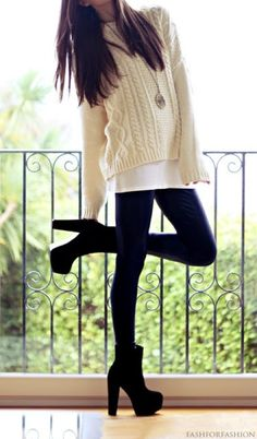 Love the sweater with a close but not exact under shirt.