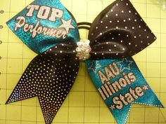 You Pick Colors * STATE * GLITZY Holographic Cheer Bow * Rhinestones & Bling * You Personalize by TheCheerBowBabe on Etsy