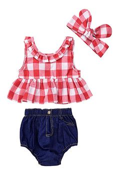 58f380d3c8ad IWOKA Baby Girls Plaid Ruffle Bowknot Tank Top+Denim Shorts Outfit with  Headband Disney Baby