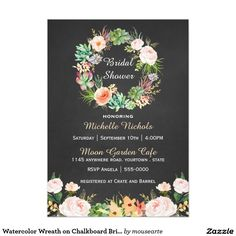 Watercolor Wreath on Chalkboard Bridal Shower 5x7 Paper Invitation Card