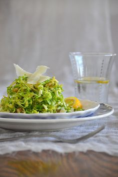 Shredded Brussels Sprouts with Lemon, Walnuts and Shaved Parmesan | Lemons and Lavender