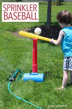 Take tee ball to the next level with Sprinkler Baseball! A super fun backyard activity for summer - try to hit the ball without getting wet first. Kids love it!