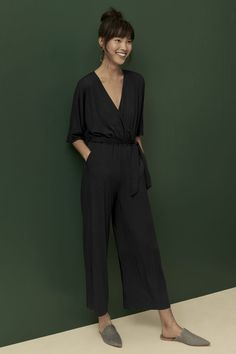 Terra Jumpsuit (Black) – Jumpsuits – Amour Vert - Jumpsuits and Romper Black Jumpsuit Outfit, Casual Jumpsuit, Black Girl Fashion, Look Fashion, French Fashion, Fashion Details, Fashion Tips, Elegante Jumpsuits, Parisienne Chic