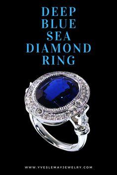 Blue Sapphire Rings, Gold Diamond Rings, Blue Rings, Art Deco Jewelry, Jewelry Rings, Jewelry Design, Bespoke Jewellery, Body Jewellery, Handmade Jewelry