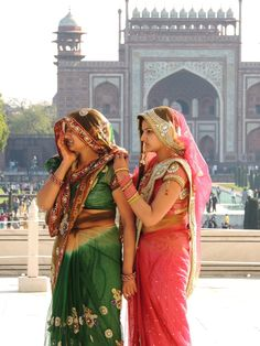 The most amazing saris at the Taj Mahal, Agra, India.