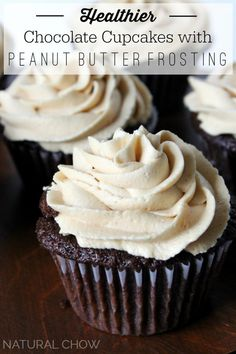 Healthier Chocolate Cupcakes with Peanut Butter Frosting. Get in my belly!