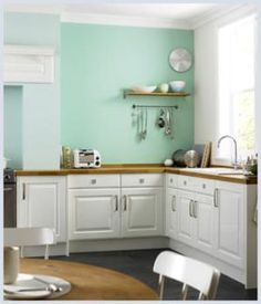 12 Clean Mint Green Kitchen Accessories Photograph - In lately, transforming a kitchen shouldn't be a busy work. Mint Kitchen Walls, Mint Green Kitchen, Mint Green Walls, Green Kitchen Cabinets, Kitchen Wall Colors, Custom Kitchen Cabinets, Kitchen Paint, Turquoise Kitchen, Green Turquoise