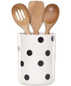 kate spade new york all in good taste Deco Dot Utensil Crock and Wooden Utensils