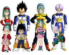 Bulla, Vegeta, Bulma e Trunks Dragon Ball Gt, Dragon Ball Z Shirt, Manga Anime, Anime Art, Vegeta And Trunks, Goku Y Vegeta, Manga Games, Chibi, Character Design