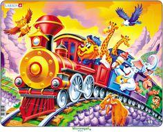 Puzzle per Bambini CIRCO SUL TRENO CARTOONS cm 36x28 (30 pezzi). Larsen. - Puzzle, Puzzle in Legno e Giganti - Regali per i BAMBINI