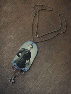 Cornflower Blue Hand-painted Tintype Necklace by luminoddities