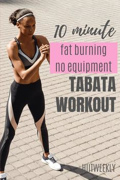 No equipment tabata hiit workout that takes just 10 minutes start to finish that will burn fat and get you in great shape. Do it this bodyweight tabata 4 times a week. Fitness Workouts, Tabata Workouts, Hiit Elliptical, Training Workouts, Fitness Goals, Body Weight, Weight Loss, Losing Weight, 10 Minute Workout