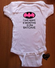 Batcave Baby Onesies, Custom Onesies, Baby shower gift, Christmas Gift, Boy Bat, Girl Bat, Spent 9 months in Cave - pinned by pin4etsy.com