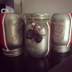 Silver Bullet Mason Jars Ohio State Ball by FierceFoxCreations The Buckeye State, Ohio State Football, Ohio State University, Ohio State Buckeyes, Buckeye Nut, Ohio State Rooms, Ohio State Decor, Ohio State Crafts, Mason Jar Crafts