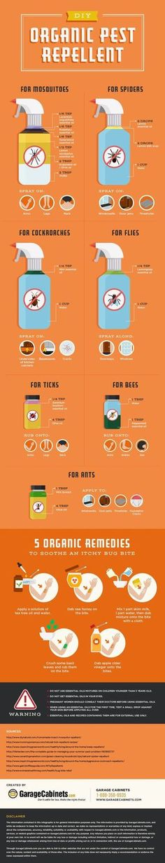 Organic Pest Control Chart -- Many people suffer from chemical sensitivities, meaning that even everyday chemicals such as bug repellents can cause harmful effects. Well, here's a recipe list for organic repellents. Cleaners Homemade, Diy Cleaners, Limpieza Natural, Tips & Tricks, Insect Repellent, Gnat Repellant, Garden Pests, Natural Cleaning Products, Pest Control