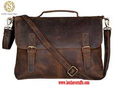 Handolederco Vintage Buffalo Leather Messenger Satchel Laptop Briefcase Men's Bag Crazy Vintage Leather Messenger Briefcase Bag Satchel Bags For Men, Mens Satchel, Leather Briefcase, Leather Satchel, Men's Leather, Laptop Messenger Bags, Laptop Briefcase, Laptop Bags, Diy Leather Messenger Bag