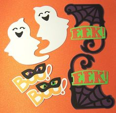 Halloween Set of 8 Die Cut Paper Pieced Embellishments