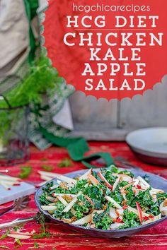 hCG Diet AP (Alternate Protocol) Recipe: Chicken, Kale, and Apple Salad - 266 calories per serving. Hcg Chicken Recipes, Chicken Diet Recipe, Hcg Diet Recipes, Diet Dinner Recipes, Hcg Meals, 800 Calorie Diet, Very Low Calorie Diet, Apple Salad Recipes, Fennel Recipes