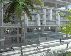 Hostel on Behance 3ds Max Vray, Milan City, Linear Park, Commercial Street, Huge Windows, Urban Planning, Hostel, 3d Design, Facade