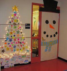 winter deur + sterren kerstboom