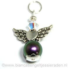 Hangertje Engeltje Vlinder Libelle Crystal Iredescent Purple Clear AB www.biancasengeltjessieraden.nl
