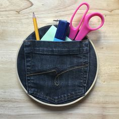 Have an old pair of jeans? Have a go at making our denim pocket organisers, a creative way to store your stationary! Pocket Organizer, Organisers, Stationary, Diy Projects, Buttons, Pairs, Denim, Store, Box