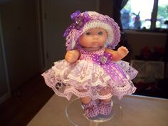 """Berenguer 5"""" Baby Dolls - Lavender Lace Baby # 92   More can be seen on Pinterest under Jana Langley Berenguer 5"""" Dolls with crocheted outfits"""