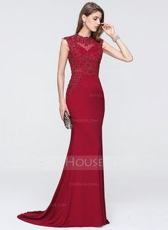 e703daed773 Trumpet Mermaid Scoop Neck Sweep Train Jersey Evening Dress With Beading  Sequins - Evening Dresses - JJsHouse