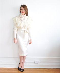 ivory wedding dress . lace edwardian style top . 3 pc set .small.medium .sale on Etsy, $179.00