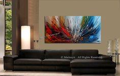 Pintura abstracta pintura acrílico rojo azul grande original