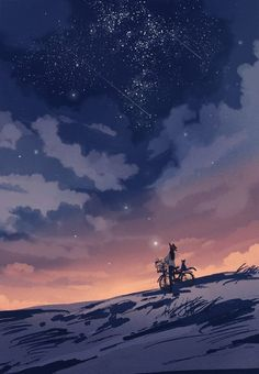 Anime girl in the Night Sky Fantasy Landscape, Fantasy Art, Cassandra Calin, Doodle Drawing, Wallpaper Animes, Sky Art, Anime Scenery, Art Background, Claude Monet