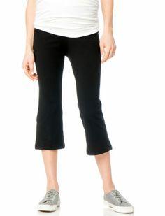 Fold Over Belly Jersey Knit Cropped Maternity Yoga Pants