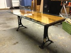 Coffe table made of live edge cherrywood slab, glass and antique industrial adjustable iron legs. One of a kind