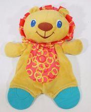 Bright Starts LION TEETHER PLUSH Lovey Toy Stuffed Animal  Orange Yellow Blue