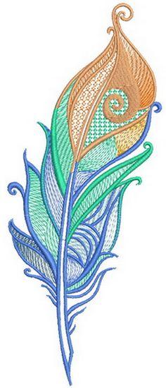 Firebird feather machine embroidery design #orange #Firebird #Beautiful #feather #multicolor #forscarf #formittens #embroidery
