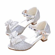 Girls' Shoes Synthetics Spring & Fall Flower Girl Shoes / Tiny Heels for Teens Heels for Silver / Blue / Pink Cheap Girls Shoes, Girls Shoes Online, Fall Flower Girl, Flower Girl Shoes, Little Girl Heels, Light Up Shoes, Cute Flats, Jelly Shoes, Soccer Shoes