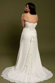 Empire Wedding Dress with Sweetheart Neckline and Cut Fabric Flowers - Renee Style - Avail & Company, LLC Fall Wedding Dresses, Spring Wedding, Wedding Gowns, Floral Wedding, Pregnant Wedding Dress, Maternity Wedding, Chiffon Gown, Fabric Flowers, Corset