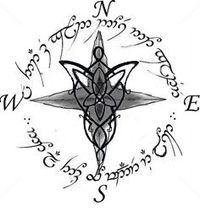 """*Evenstar compass with """"all that is gold does not glitter, not all those who wander are lost"""" in Elvish... think I found my new tattoo!"""