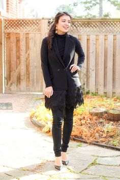 - #Outfit post from Toronto Blogger Jocelyn Caithness Feathered Vest  #BananaRepublic #Burberry