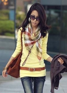 Korean Style Hot Sale Leisure Yellow T-shirts (I want this whole outfit) $7.70