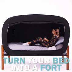 The Bed Tent Black Naps are better in a Privacy Pop 💤 ✔️ Solitude and Seclusion ✔️ Private Oasis ✔️ Reduces Outside Light ✔️ Comforting Bed Fort Dream Rooms, Dream Bedroom, Girls Bedroom, Bedroom Decor, Bedroom Crafts, Bed Tent, Tent Room, Cool Inventions, My Room