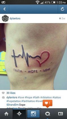 Hope love faith heart pulse cross tattoo