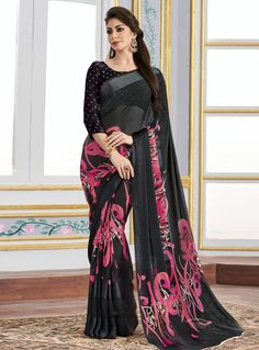 Black Georgette Printed Saree With Blouse 105979