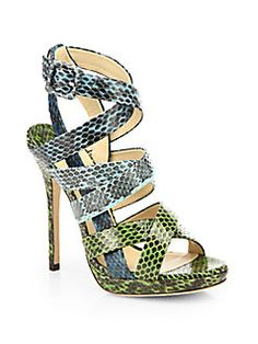 Jimmy Choo - Dido Snakeskin Platform Sandals Shop at Saks Fifth Avenue at 150 Worth Ave in Palm Beach FL