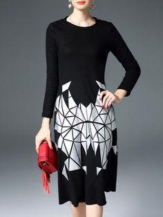 Black and white Graphic Printed Wool-cotton Midi Dress