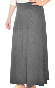 1ffc40ebed Kosher Casual Womens Modest Long Flowing Maxi Skirt 2XL Dark Charcoal Grey  ** Find out