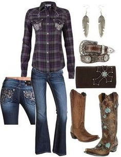 a plaid shirt with a pair of Miss Me jeans, a couple of different pair of boots, a cute belt with a cute set of earrings