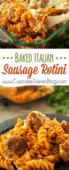 Baked Italian Sausage Rotini - good, but next time just crumble sausage instead of making meatballs