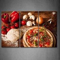 Compra 3 Piece Brown Wall Art Painting Pizza And Red Tomato Pepper White Paste Picture Print On Canvas Food 4 The Picture en Wish- Comprar es divertido