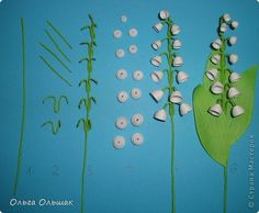 Picture, pictures, graphic, Quilling Workshop: Magic lily of the valley bouquet + mini MC.  Beads, Corrugated paper, ribbons, wrapping material, pastel, paper strips, wire, fabric March 8, Mother's Day, Birthday.  Photo 6